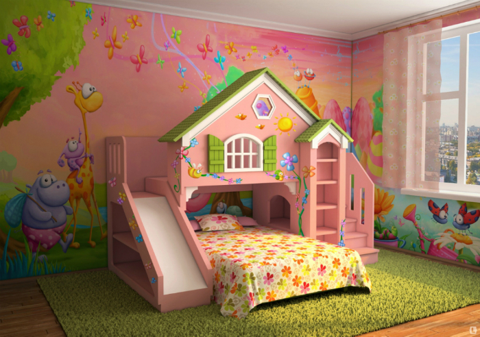 Комната, оформленная в розовых тонах с небольшим игровым домиком.