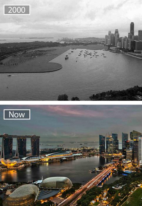 Сингапур шестнадцать лет назад и сейчас.