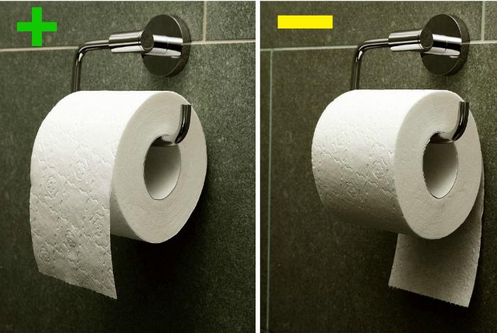 Как правильно вешать рулон туалетной бумаги.