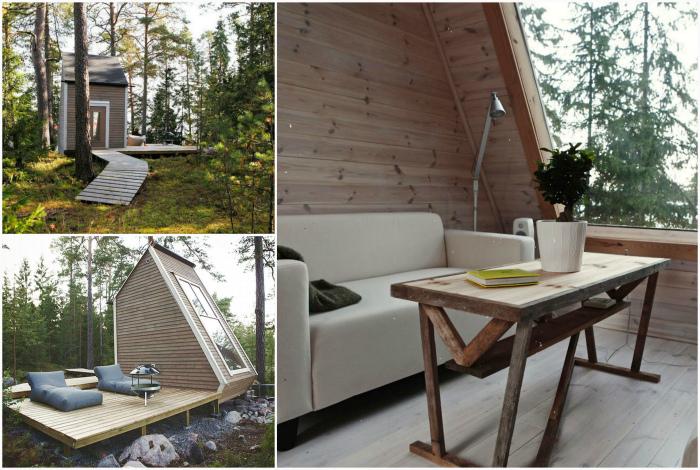 Двухэтажный домик из переработанных материалов.