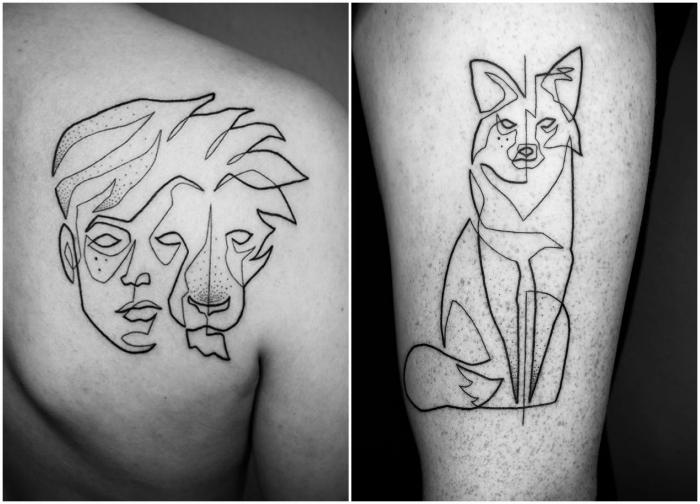 Татуировки в одну линию от Мо Ганжи.