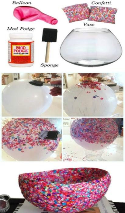 Необычная ваза для фруктов или конфет, которую можно сделать самостоятельно с помощью обыкновенного воздушного шарика, клея и конфетти.