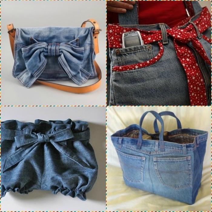 Различные сумочки из старой джинсовой одежды.