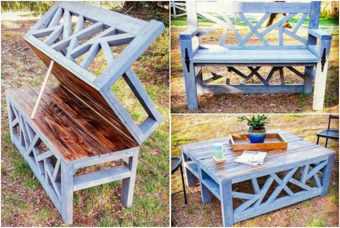 Многофункциональная трансформирующаяся скамейка. | Фото: Futurist Architecture.