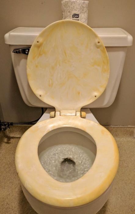 Дизайн крышки унитаза в подозрительных бело-желтых тонах.