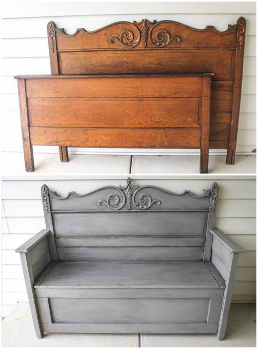 Скамейка из старых деталей.