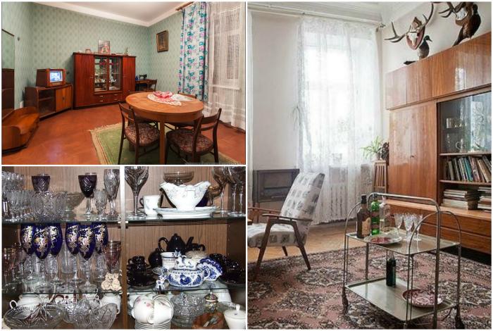 Советская мебель и фамильные сервизы.