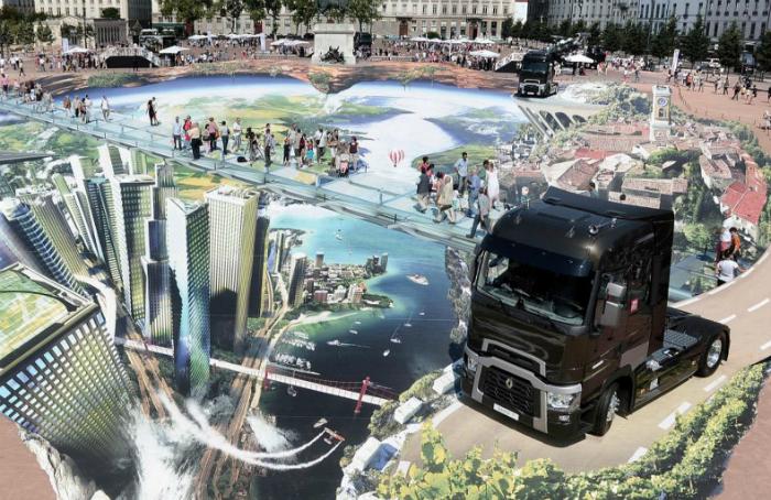 Огромный нарисованный город в центре Лиона от Франсуа Абелане.