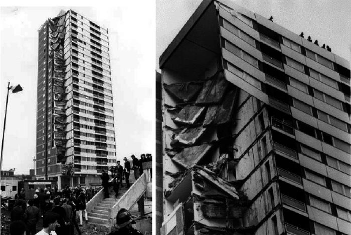 Утечка газа и разрушение башни Ronan Point в Лондоне.