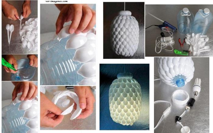 Необычная лампа из пластиковой бутылки и одноразовых ложек.
