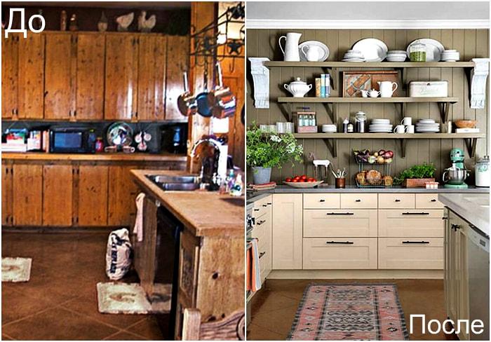 Открытые полки вместо старых кухонных шкафчиков.