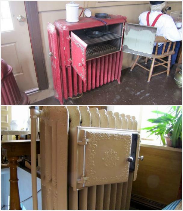 Радиаторы с теплыми шкафами. | Фото: Пикабу.