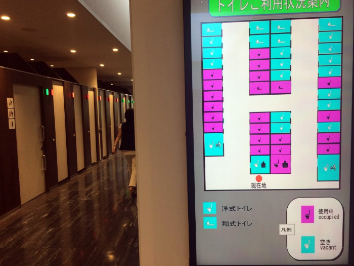 Экраны в общественных туалетах.
