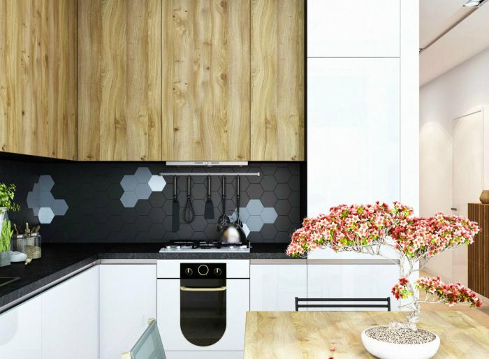 Небольшая кухня, оформленная в соответствии с последними тенденциями дизайна.