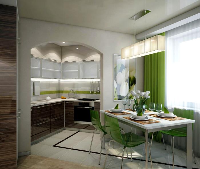 Кухня-столовая с зелеными акцентами.
