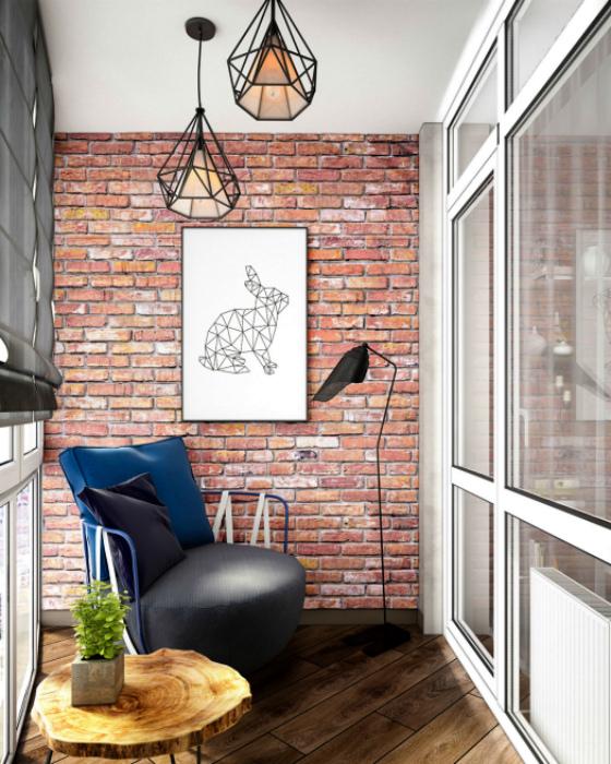 Балкон в рустикальном стиле. | Фото: TZ Interior Design.