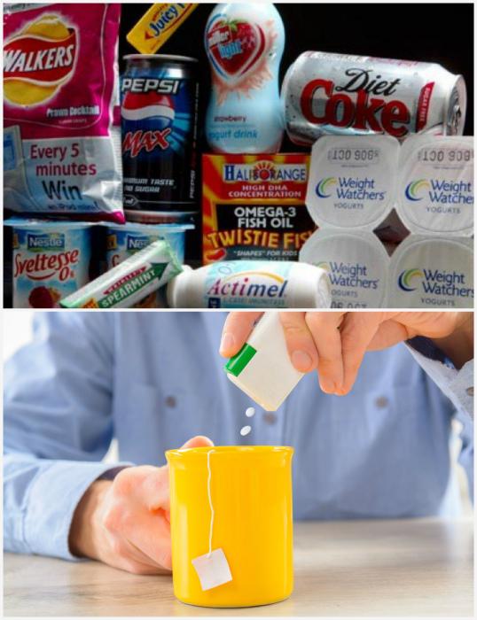 Продукты и напитки с искусственным подсластителем. | Фото: Yousense.info.