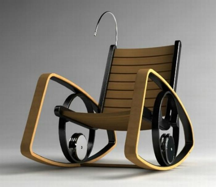 Кресло качалка, преобразовывающее кинетическую энергию в электричество.