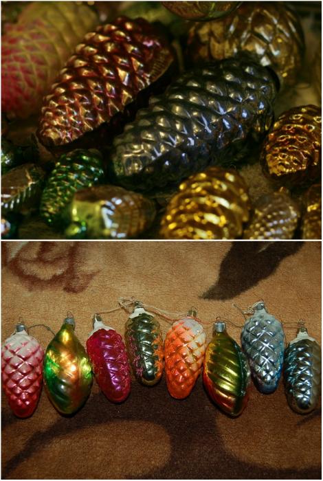 Разноцветные шишки из стекла.