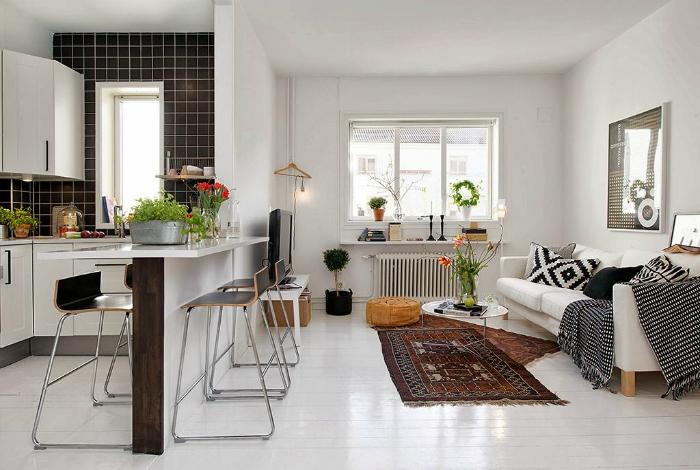 Квартира-студия в скандинавском стиле.