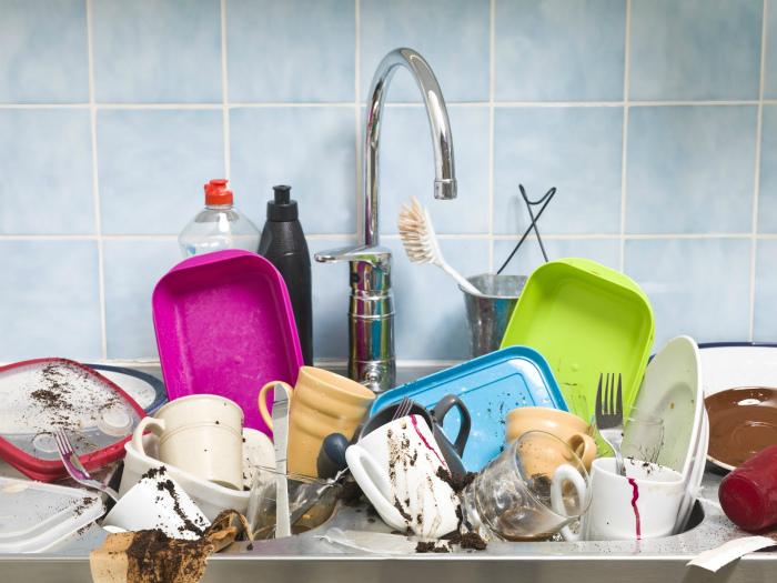 Отношение к грязной посуде. | Фото: Golos.io.