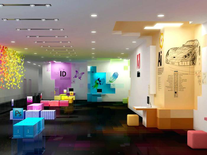 Современный офис с неоновой подсветкой.