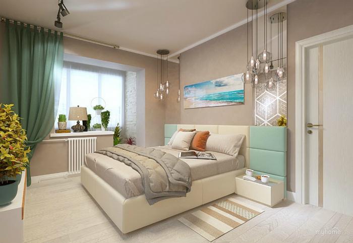 Спокойная спальня с бежевыми стенами.