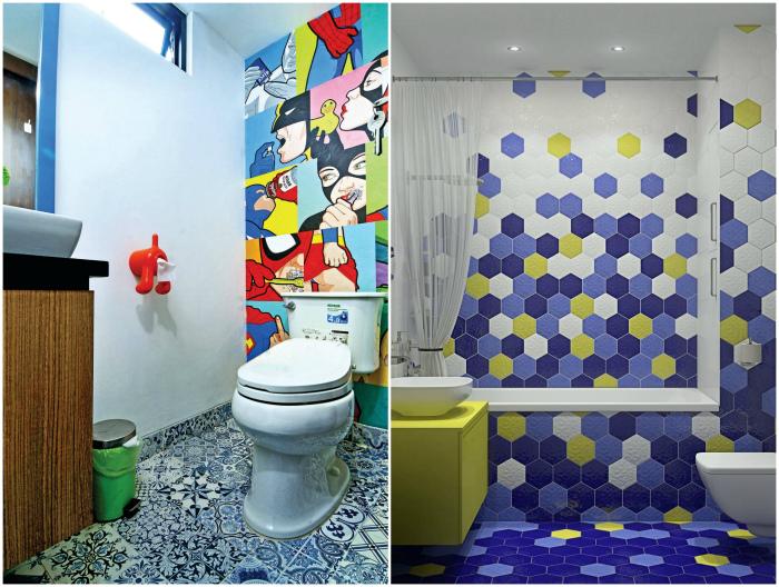Яркие акценты в интерьере ванной комнаты. | Фото: Houzz, Pinterest.