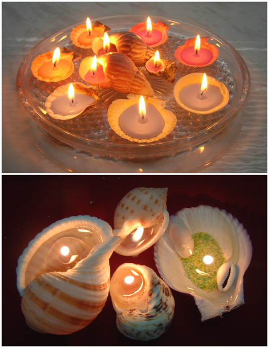 Свечи из ракушек.