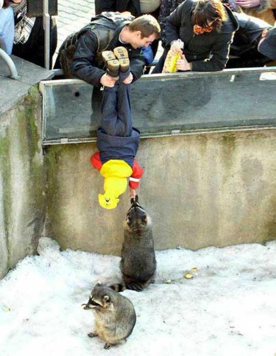 С папой в зоопарке.