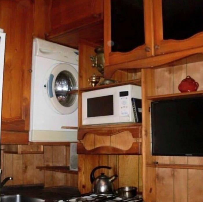 Novate.ru выяснил, где лучшее место для стиральной машины. | Фото: fishki.net.