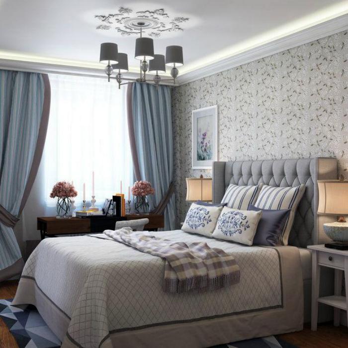 Спальня в серо-голубых тонах.
