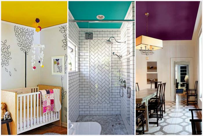 Потолки, покрашенные в яркие цвета.