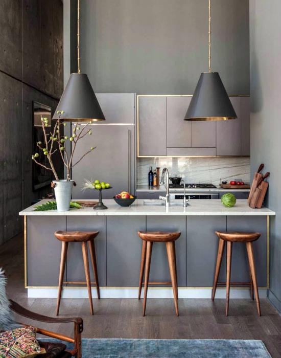 Современная кухня в серых тонах.