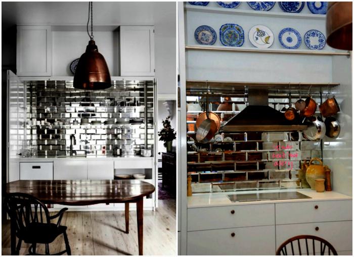 Зеркальная плитка в интерьере кухни.