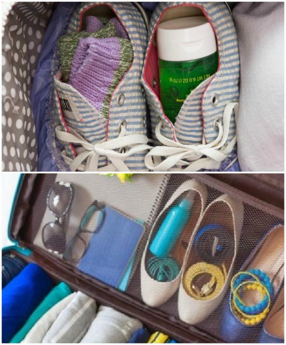 Упаковывайте мелочи в обувь.