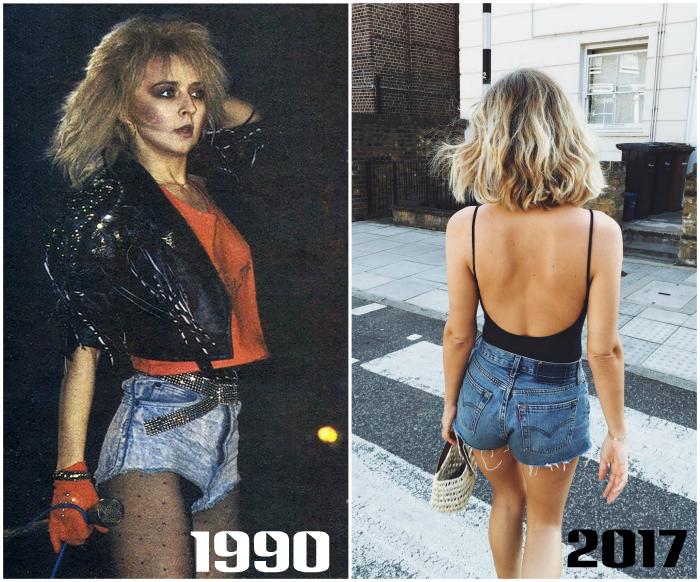 Короткие джинсовые шорты с высокой посадкой.