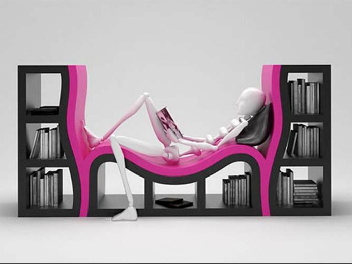 Книжная полка с местом для отдыха и чтения, которая существенно сохранит место в комнате.