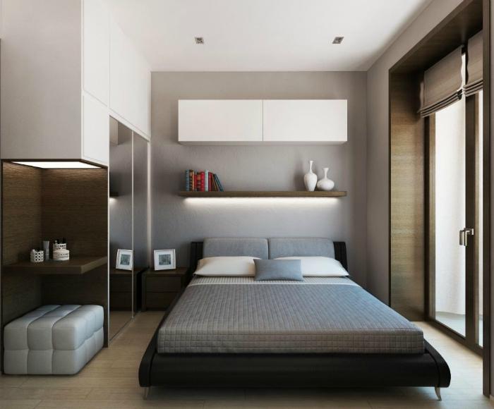 Минимум вещей в спальне. | Фото: Homeli.ru.