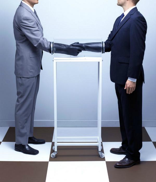 Устройство для рукопожатия без прикосновений.