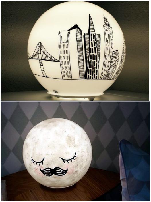 Оригинальный декор светильников.