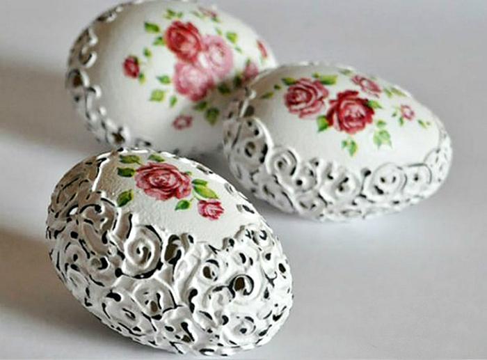 Декор яиц в стиле шебби шик.