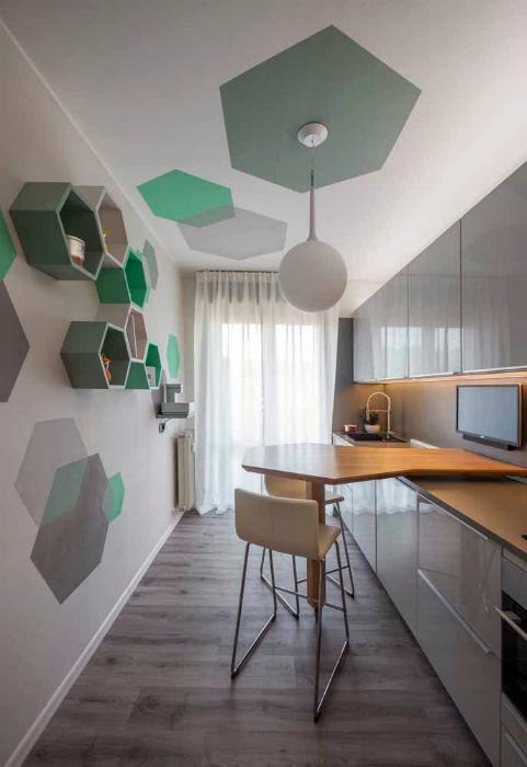 Узкая кухня в стиле минимализм. | Фото: Pinterest.
