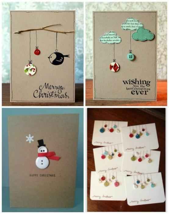 Оригинальные праздничные открытки из ненужных пуговиц.