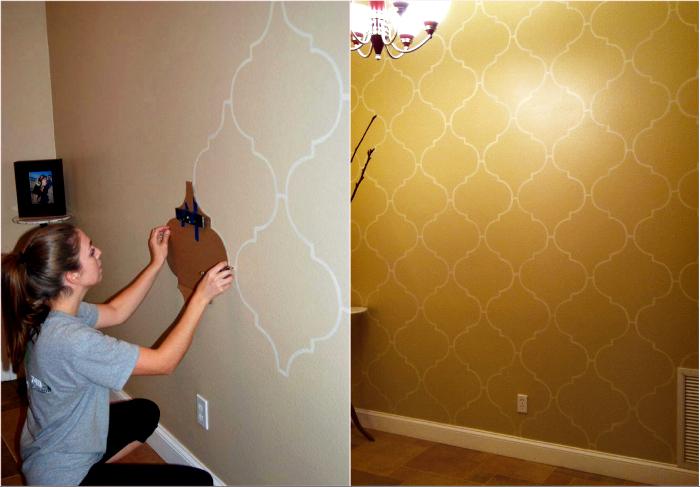 Роспись стен с помощью трафарета.
