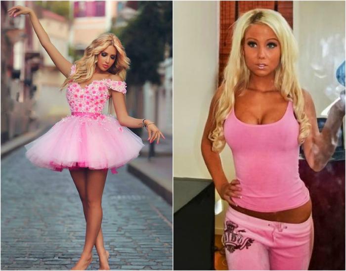 Одежда розового цвета.