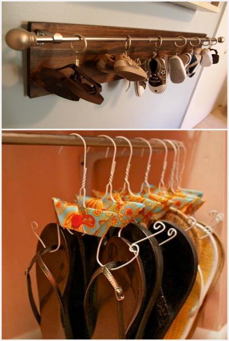 Хранение обуви на крючках и вешалках. | Фото: Pinterest, Fashion, Style & DIY.