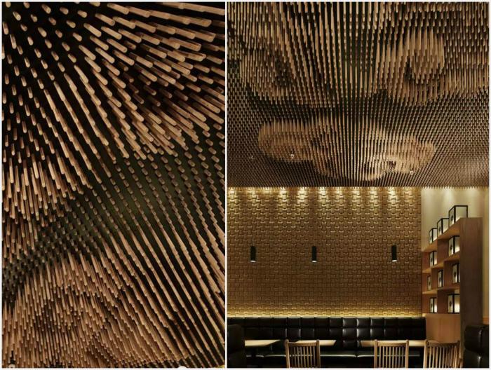 Объемный потолок с узорами.