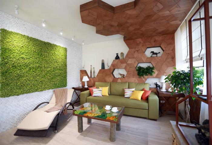 Фантастическая гостиная в стиле эко.