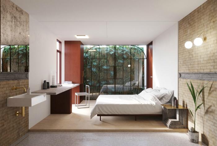 Спальня в тропическом стиле.